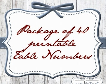 Package of 40 Table Numbers