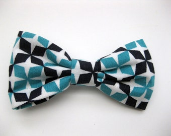 Dog Bow Tie, Blue and Black,  Removable and Adjustable, Bow Tie for Dogs and Weddings, Made to Order in Your Choice of Size
