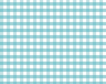 Aqua Blue Medium (1/4 inch.) Gingham Fabric by Riley Blake. Perfect for baby, nursery, quilts & more.  100% cotton c450-20