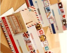 Luggage case memo mini envelope sticky note travel handbook travel journey world trip country sign trip label deco traveller diary