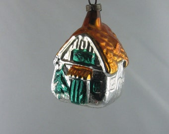 Ancient Christmas tree ornament / Christmas decoration. COTTAGE. Silver, orange and green painted, Christmas bauble made of glass. VINTAGE