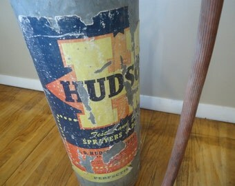 Hudson Galvanized Steel Garden Sprayer, Duster, Vintage Industrial Sprayer, Mid Century Garden Pump Sprayer