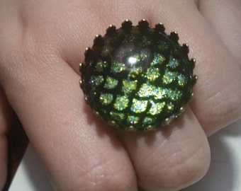 Green dragon scales nail polish ring