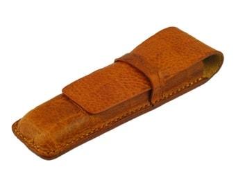Leather Pen Case, Handmade, Saddle Tan Crocodile Grain Leather, Fits 2 Pens