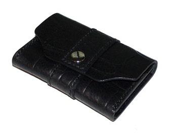 Black Leather Business Card Case, Crocodile Grain Leather
