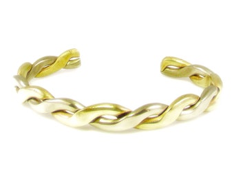 Two Tone Gold and Silver Tone Twisted Bangle Bracelet
