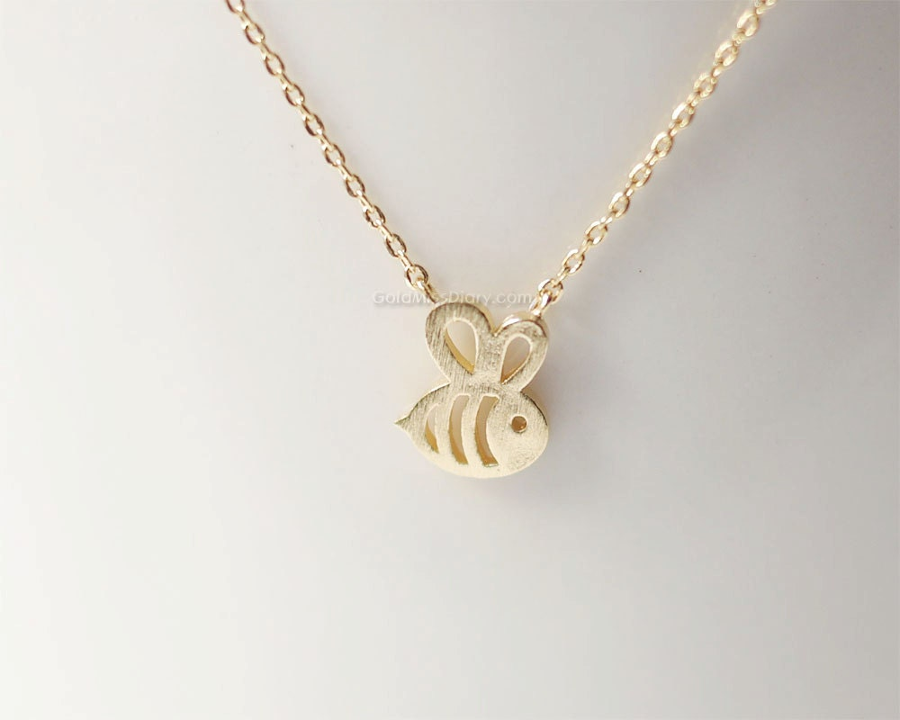 gold honey bee necklace bumble bee necklace bridesmaid