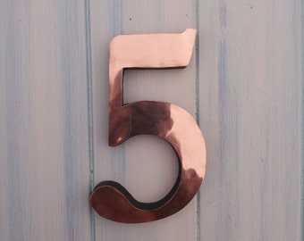 "Large Copper house numbers 3D 9""/12""/15"" high  in Garamond,   marine lacquered floating standoff o"