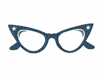 BLACK RIMMED GLASSES ~ Machine Embroidery Design - 2 sizes - Instant Download