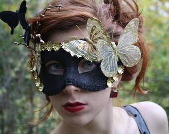 Black Masquerade Mask gold masquerade ball mask gold fairy mask butterfly mask black party mask venetian carnival mask masquerade prom NOIR