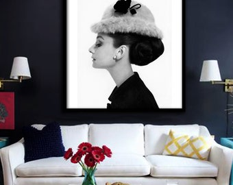 Audrey Hepburn Poster PRINTABLE FILE - square & rectangle, Fashion art, Fashion icon, Breakfast at Tiffanys, dorm wall art, instant download
