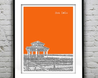 Sea Isle City New Jersey Shore Poster Print Art NJ Skyline Jersey Shore Version 2
