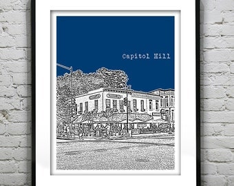 Capitol Hill Washington DC Skyline Poster Art Print Version 2