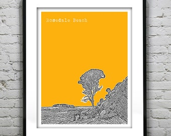 Rosedale Beach New South Wales Australia Poster Art Skyline Print NSW Version 2