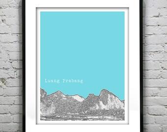 Luang Prabang Laos Poster Print Skyline Travel Art Asia Version 3