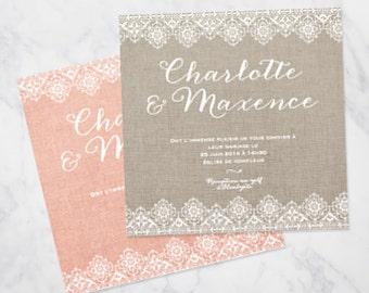 Burlap lace wedding invitation - rustic and natural invitation SAMPLE