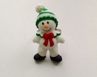 Christmas holiday snowman ring