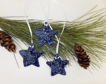 Blue Swirls Ceramic Star Ornament, Ceramic Gift Tag, Wild Crow Farm Pottery