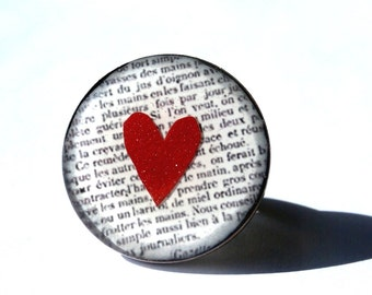 Red heart ring, heart jewelry, Heart ring, red, white, newspaper ring, adjustable ring, love jewelry,  lovers, Valentine's day, gift for her