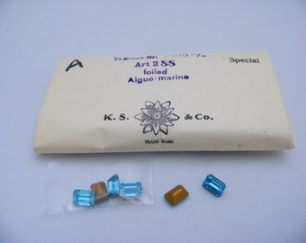 VintageFoiled 7x10mm Aigue Marine Octagon cabs 2/3228