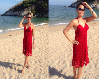 RED halter Bikini Cover handmade knitting Short dress fits XS S M