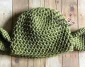Newborn 0-3 Month Jedi Master Yoda Hat, Ready to Ship, Beanie, Prop, Winter, Costume