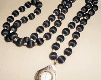 CLOSEOUT TAKE 50% OFF Vintage Caravelle Watch Pendant and Long Fabric Bead Necklace