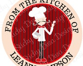 PERSONALIZED COOKING STICKERS -  From the Kitchen of - Cooking Labels - Round Gloss Labels