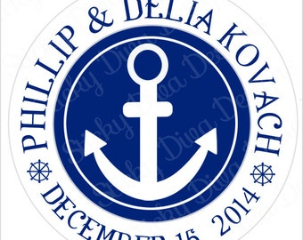 PERSONALIZED WEDDING STICKERS - Anchor Salior Boat Nautical Design Monogrammed Labels - Round Gloss Labels