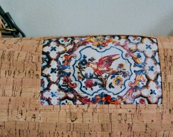 Beautiful Handbag made in cork, with Panel of Portuguese tiles.