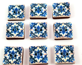 Set of 9 Buttons,  Polymer clay button replica of Portugues Tile, blue and white button