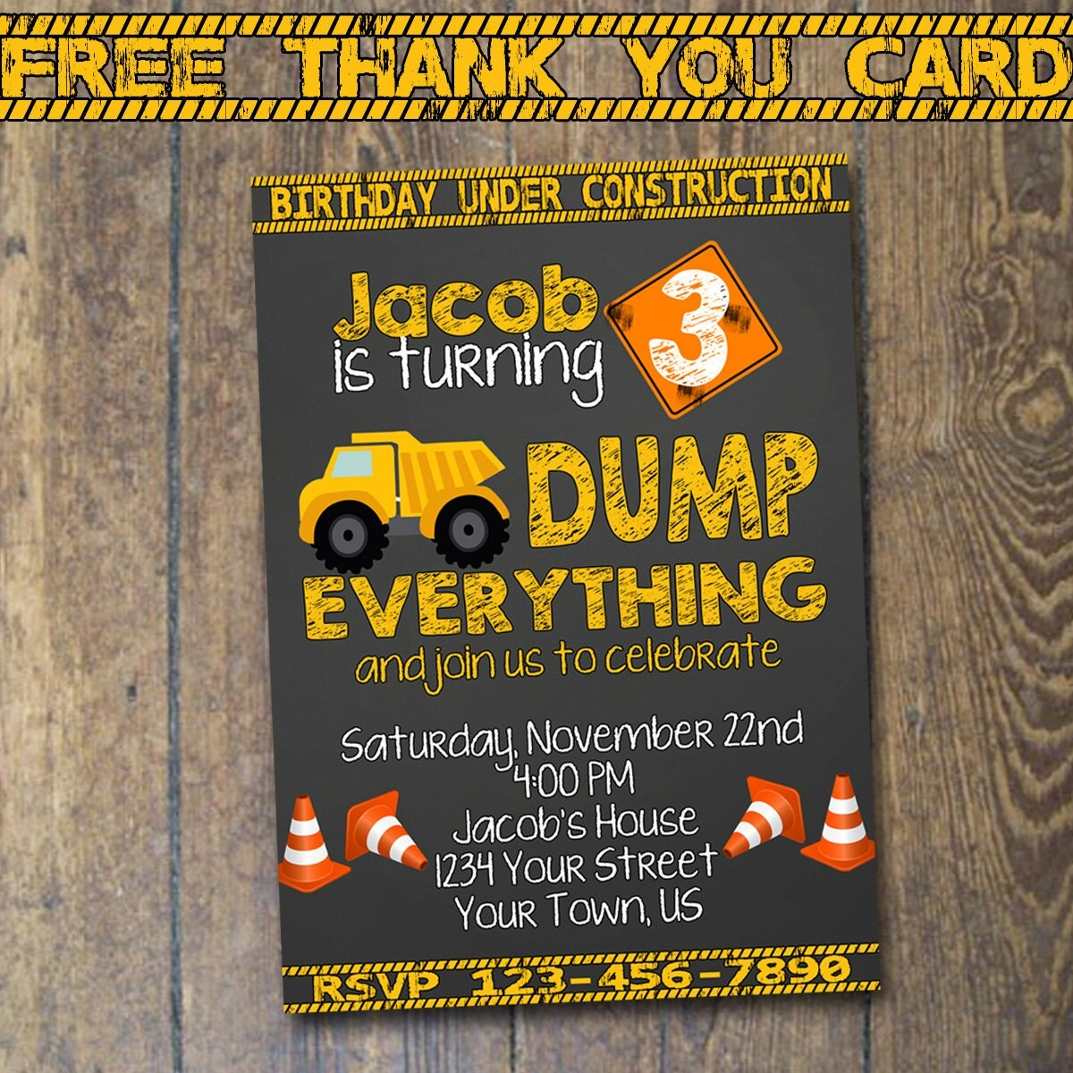 Construction Birthday Invitation Dump Truck By