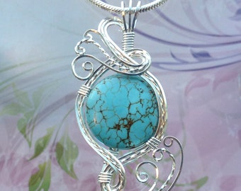 Turquoise Pendant Necklace Wire Wrapped Jewelry Handmade in Silver With Free Shipping