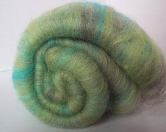 Carded Batts, Green, Turquiose, Grey Spinning Fiber, Shetland, Merino,Corriedale 100g / 3.5oz