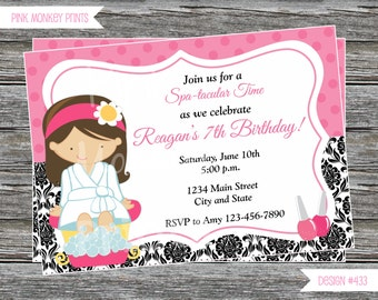 DIY - Girl Pink and Damask Spa Birthday Party Invitation # 433- Coordinating Items Available