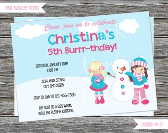 DIY - Girl Winter Snow Fun Snowman Birthday Invitation  - Coordinating Items Available