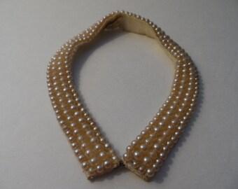 Vintage Faux Pearl Collar Handmade 1950's