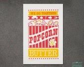 Home decor, Wall Art, Family Room Art, Hand-printed Popcorn Letterpress Art Print JJD_LP_PBP