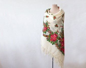 Russian shawl, MORE COLORS, floral wool shawl for spring, romantic shawl, floral wrap, folk shawl, white shawl with pink and emerald green