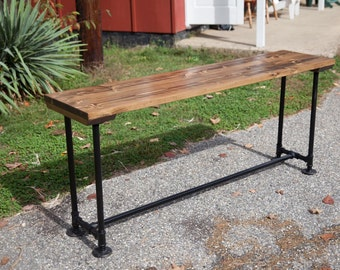 6 Solid Wood Sofa Table With Industrial Base Metal Pipe