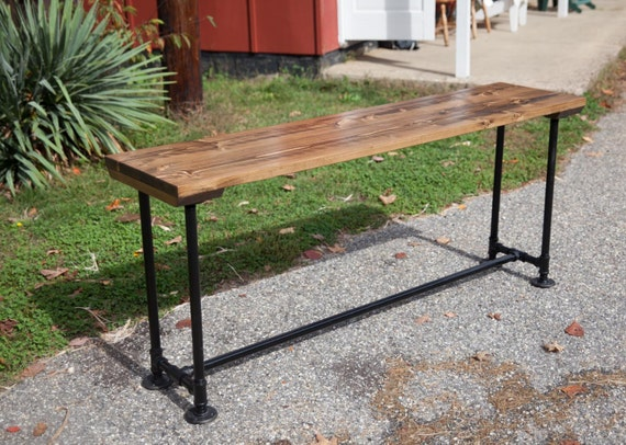 6 Solid Wood Sofa Table With Industrial Base Metal By