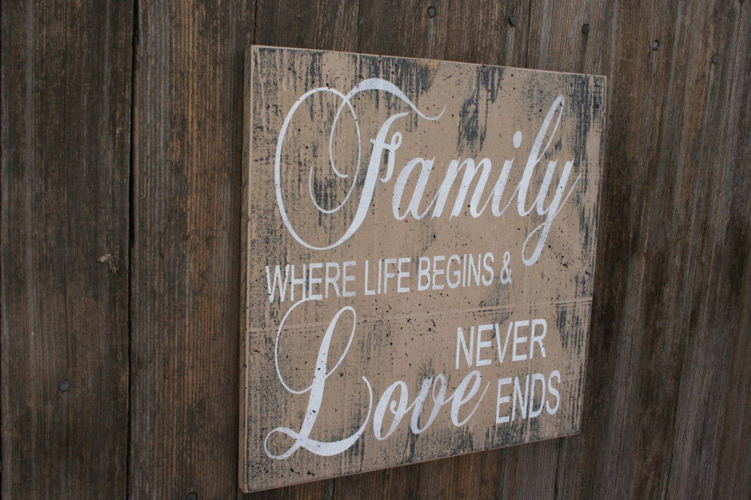 Family Where Life Begins And Love Never Ends Wood Sign Vintage