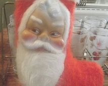 Hard to find Vintage  christmas stocking with RUBBER SANTA FACE  Made in Canada 1968 fuzzzy beard stocking measures about 10 inches iheight