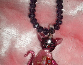 Deep plum Cat Pendant Necklace and earrings