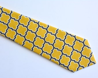 Men's neck Tie-Yellow and gray lattice