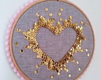 Valentine heart Sequin art embroidery hoop