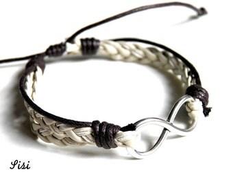 Infinity bracelet cord beige brown