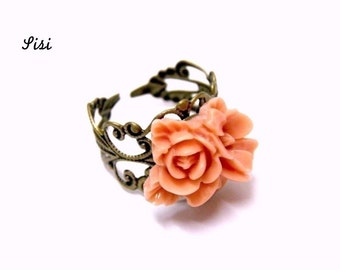 Bronze filigree ring pink flowers