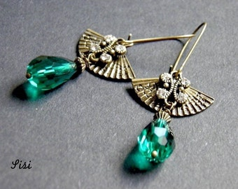 Earrings range green drop