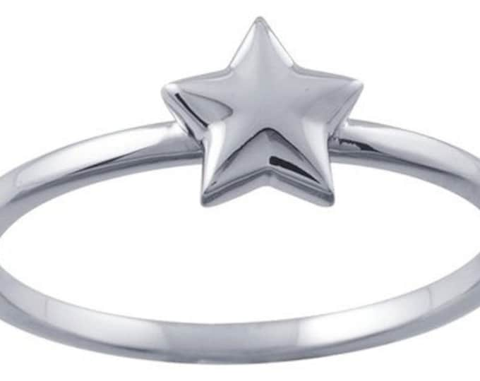 Designer 14K White Gold Stackable Ring with Star Accent ~ FREE SHIPPING